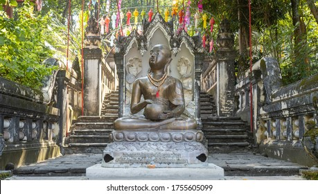 Phayao, Thailand - Dec 1, 2019: Upagupta Buddhist Monk Statue in Analayo Temple or Wat Analayo at Phayao Thailand with Natural Light