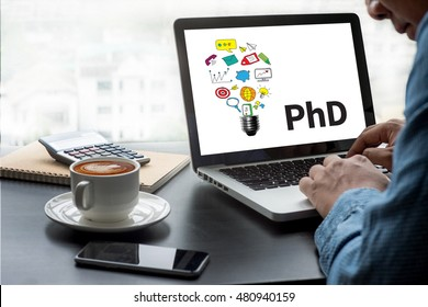 PhD Doctor of Philosophy Degree Education Graduation Thoughtful male person looking to the digital tablet screen, laptop screen,Silhouette and filter sun