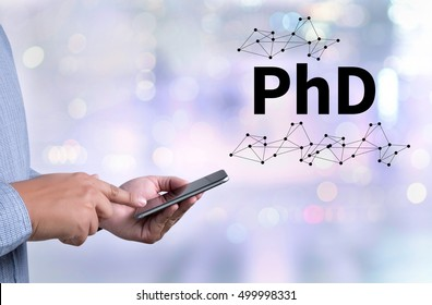 PhD Doctor of Philosophy Degree Education Graduation person holding a smartphone on blurred cityscape background