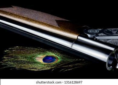 Pheasant tail feather and shotgun isolated on a black background