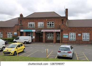 Pheasey, Birmingham, England, UK. April 27, 2019.  The entrance to the red brick Collingwood Community Centre and Medical Practice.