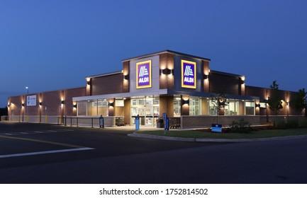 PHENIX CITY, ALABAMA/ USA - 06-05-2020 USA. ALDI Food store early in the morning.
