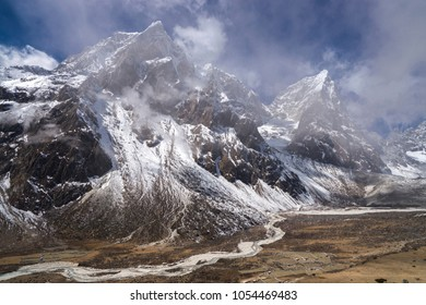 Pheriche valley with Taboche and cholatse summits. Everest base camp trek in Nepal