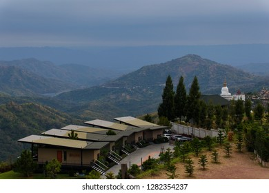 Phetchabun, Thailand​ -​ January​ 05, 2019: landscape of green mountain and cloudy sky at The Pino Latte Resort and Cafe, Khao Kho, Phetchabun, Thailand. - Image