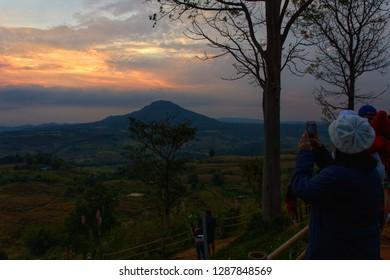 Phetchabun, Thailand - January 06, 2019: Beautiful landscape at Khao Takhian Ngo in Phetchabun, Thailand