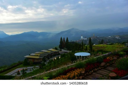 Phetchabun, Thailand - June 8, 2019: landscape of green mountain and cloudy sky at The Pino Latte Resort and Cafe, Khao Kho, Phetchabun, Thailand.