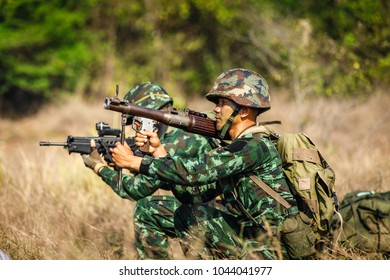 phetchabun - march 03, 2018 thai military special forces maneuver full action in the forest on mountain in training camp pho khun pha muang phechabun province