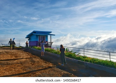 Phetchabun, Thailand - June 10, 2019: Tourists are standing to watch the morning view at Rai Rimphra Resort Viewpoint in Phu Thap Boek, Phetchabun, Thailand.