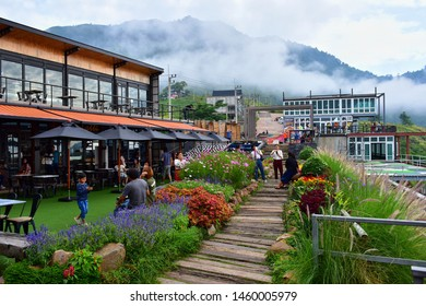 Phetchabun, Thailand - June 08, 2019:  landscape and cloudy sky at The Pino Latte Resort and Cafe, and coffee bar with great mountain view in KhaoKho, Phetchabun, Thailand.