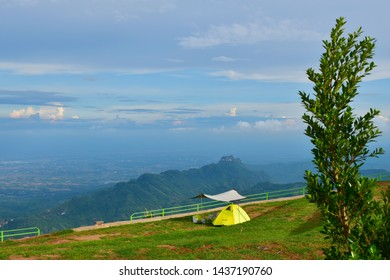 Phetchabun, Thailand - June 9, 2019: Morning view point with mountain in Phu Thap Boek, most famous travel place in, Phetchabun, Thailand