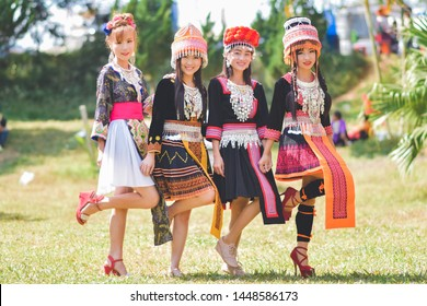 Phetchabun, Thailand, Dec 19, 2015 - Portrait of group teen Hmong girls in beautiful costumes on Hmong new year festival
