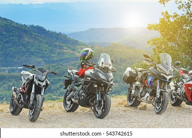 PHETCHABUN, THAILAND - DECEMBER 20 2016: Big bike motorcycle touring on Khao Kho mountain nature.