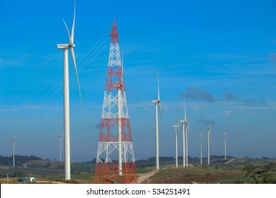 Phetchabun, Thailand - December 5, 2016 : Windtime Khao Kho is a power generation projects using wind energy from wind turbines, a large number of 24 trees. On an area of approximately 350 acres.