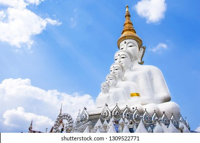 PHETCHABUN, THAILAND - January 13, 2019: Big five white buddha statue in Wat Phra That Pha Sorn Kaew with beautiful sky background, Phetchabun, Thailand.