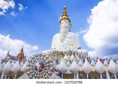 PHETCHABUN, THAILAND - January 13, 2019: Tourism make a pilgrimage to big five white buddha statue in Wat Phra That Pha Sorn Kaew in vacation, Phetchabun, Thailand.