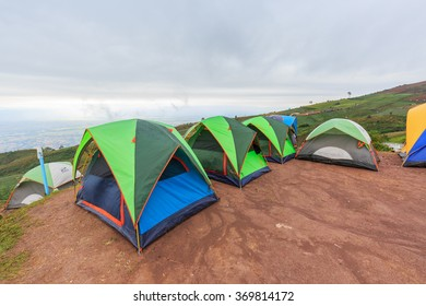 PHETCHABUN , THAILAND - JANUARY 30 , 2016 : Colorful of Camping Tent with Fog on Hill at Phutubberk in Phetchabun province, Thailand on January 30, 2016
