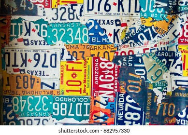 Phetchabun, Thailand - July, 15, 2017 : Vinyl sign plate old car license plates at Route 12 coffee shop at Khao Kho Phetchabun Thailand.