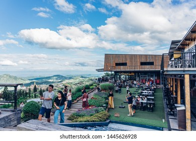PHETCHABUN, THAILAND - JUNE 29, 2019: The Pino Latte and Cafe, Khao Kho Viewpoint, Phetchabun, Thailand. Consists of people who come to relax, drinking, eating and photography.