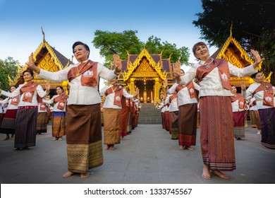 PHETCHABUN THAILAND - MARCH 09 , 2019 : Thai dancer perform Thai dance during festival in honor to Founded PHETCHABUN City Pillar Shrine 09,2019 in PHETCHABUN THAILAND