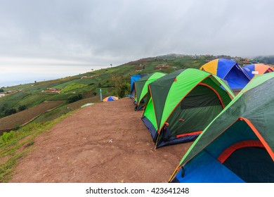 PHETCHABUN , THAILAND - MAY 20 , 2016 : Colorful of Camping Tent with Fog on Hill at Phutubberk in Phetchabun province, Thailand on May 20, 2016