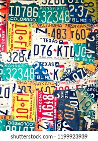 Phetchabun, Thailand - september, 15, 2018 : Vintage Vinyl sign plate old car license plates at Route 12 coffee shop at Khao Kho Phetchabun Thailand.