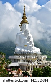 Phetchabun, Thailand​ -​ June​ 08,​ 2019​: White Buddha Statue on​ the​ high​ Mountain​ at Phra that​ pha​ Sorn Kaew Temple in​ Khao​Kho​ Phetchabun​ ,Thailand.