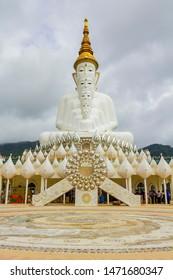PHETCHABUN,Thailand June 10, 2017 : The 5 faces of white buddha in Wat Pha Sorn Kaew, Thailand. / Wat Pha Sorn Kaew is a Buddhist monastery in Khao Kho - Phetchabun province,Thailand.