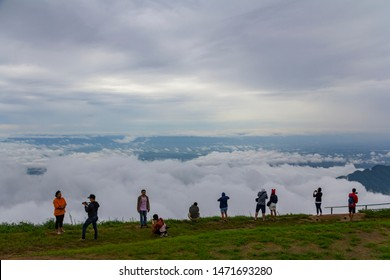 PHETCHABUN,Thailand June 11, 2017 : Camping and seeing sunrise at view point in Phu Tub berk - Phetchabun,Thailand. / Fog in the morning at Phu tub berk-Phetchabun province,thailand. / View Point.