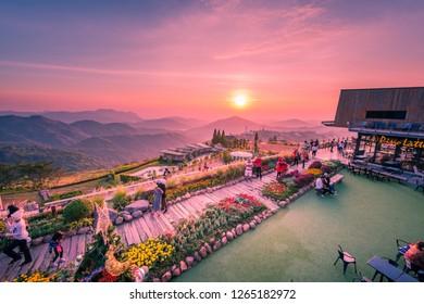 PHETCHABUN,THAILAND-DEC.22:Viewpoint coffee shop (Phra That Pha Son Kaew Temple) Khao Kho, Phetchabun province, Thailand on December 22,2018