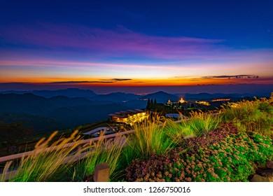 PHETCHABUN,THAILAND-DECEMBER 22,2018:Early morning before sunrise at viewpoint coffee shop (Phra That Pha Son Kaew Temple) Khao Kho, Phetchabun province, Thailand