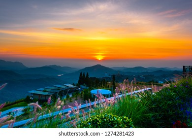 PHETCHABUN,THAILAND-DECEMBER 22,2018:Early morning before sunrise at viewpoint coffee shop (Phra That Pha Son Kaew Temple) Khao Kho, Phetchabun province, Thailand