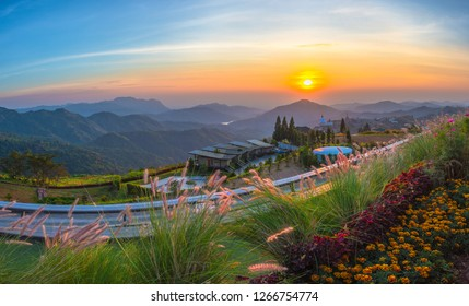 PHETCHABUN,THAILAND-DECEMBER 22,2018:Viewpoint coffee shop (Phra That Pha Son Kaew Temple) Khao Kho, Phetchabun province, Thailand