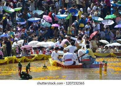 Phetchabun,Thailand-October 9, 2018:Um Phra Dam Nam Ceremony. The Phetchabun Governor, representing all people, will carry the Buddha image and dive into the Pasak river facing 2 directions
