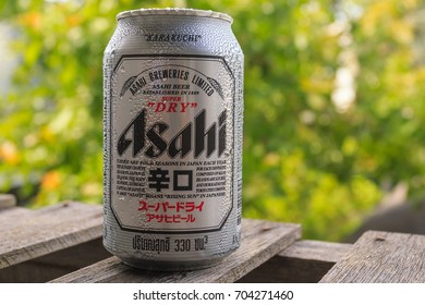 PHETCHABURI, THAILAND - AUGUST  27, 2017 : Asahi beer,Japanese beer it's come to sell in Thailand.