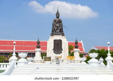 PHETCHABURI, THAILAND - DECEMBER 13, 2018: Monument to King Mongkut close-up on a sunny day