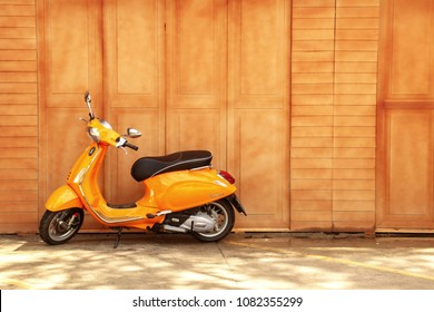 Phetchaburi / Thailand - May 03 2018:  Vespa GTS SUPER SPORT 300 ABS Year 2018 stand in front of wood wall background in Phetchaburi town, Thailand.