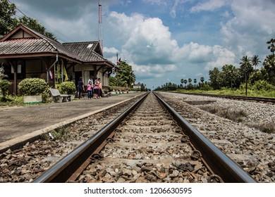 Phetchaburi / Thailand - October 16 2018: Picture of Railway station and Thai train at Nongmailung station, Phetchaburi, Thailand.