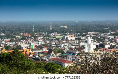 PHETCHABURI,THAILAND - DECEMBER 11,2017 : The aerial view of  Phetchaburi city in winter. Phetchaburi province  is one of the central provinces of Thailand and far from Bangkok about 150 Kms.