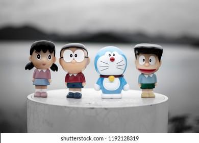 Phetcharburi, Thailand - August 14, 2018 : Cartoon model (Doraemon, Nobita, Shizuka, and Suneo) from Doraemon Series. Doraemon began as a manga series written by Fujiko F. Fujio