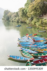 Phewa Lake with boats in Pokhara in nepal