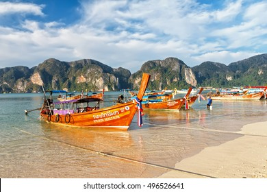 PHI PHI DON ISLAND, THAILAND - DECEMBER 21, 2015: Morning on the beach of the island of Phi Phi Don