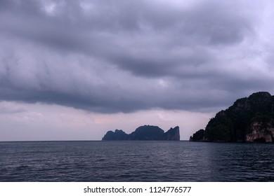 Phi Phi Island the famous landmark seascape of thailand. rainy season