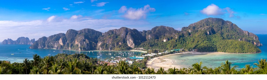 Phi Phi Island Krabi Thailand January 29, 2016 Beautiful panoramic view over Tonsai Village, Ao Tonsai, Ao Dalum, and the mountains of Koh Phi Phi Don