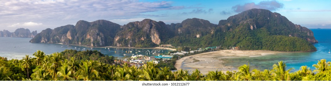 Phi Phi Island Krabi Thailand January 29, 2016 Beautiful panoramic view over Tonsai Village, Ao Tonsai, Ao Dalum, and the mountains of Koh Phi Phi Don