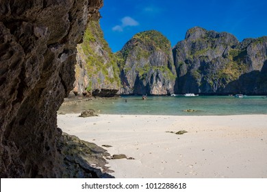 """Phi Phi Island Krabi Thailand January 30, 2016 Beautiful scenery in Ao Maya, on Koh Phi Phi Lee. This was the beach used as a location for the film """"The Beach"""""""
