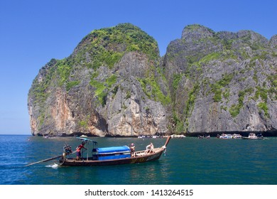PHI PHI ISLAND, THAILAND - JANUARY 2019: beautiful rocks formation at the entrance of the famous Maya bay in the Phi Phi Lee Island, Thailand