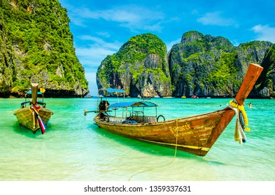 Phi phi Island, Thailand - October 20, 2011 :  People are visiting Phi Phi Island in Thailand.