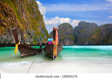Phi Phi Island - Traditional longtail boat in Maya Bay, Thailand
