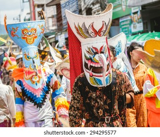 Phi Ta Khon Festival  in Loei, Thailand. Young people dress in spirit and wear a mask