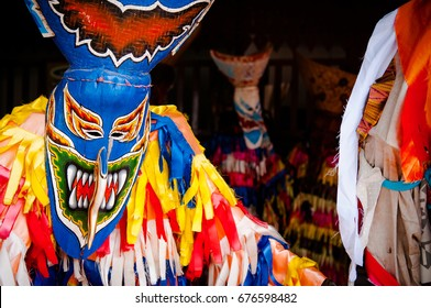 Phi Ta Khon or The ghost mask festival held in June every year. The local tradition of Loei province in northeastern Thailand. People wears vivid color costume and ghost mask, parade on the street.